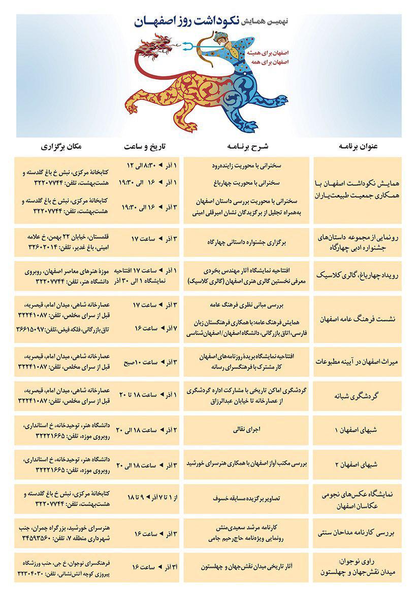 برنامه های روز بزرگداشت اصفهان